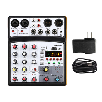 4 channel mixer audio interface dj mixing console karaoke with usb bluetooth powered by usb buses and mobile charger - Black US Plug