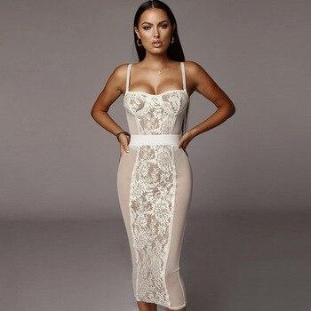 Vestido de verano de encaje transparente sin mangas, elegante
