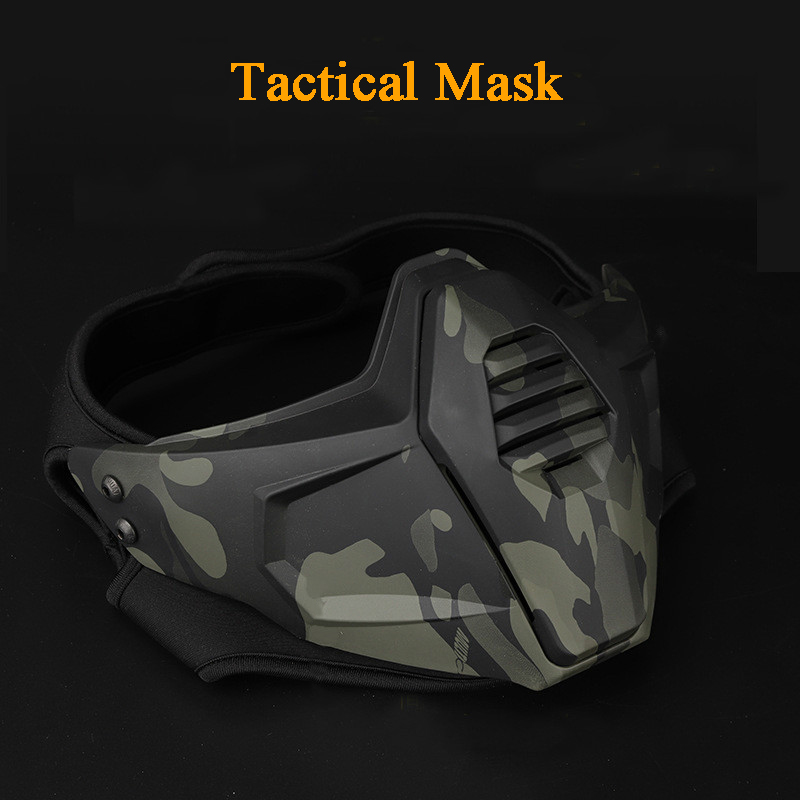 Military Tactical Mask Half Face Shooting Hunting Army Camouflage Masks Outdoor Sports Airsoft Paintball Combat Cs Wargame Masks