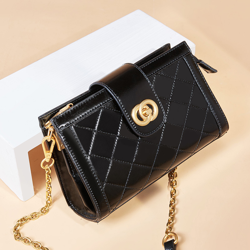 Square Sling Bag Quilted Cowhide Bag Women's Summer New Style Fashion Shoulder Bag Chain Bag Small Box Bag