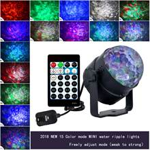 New LED Stage Light 9W 15 color Water Wave Effect Stage Light AC110-240V RGB Disco DJ Party Projector Lamp with Remote Control(China)