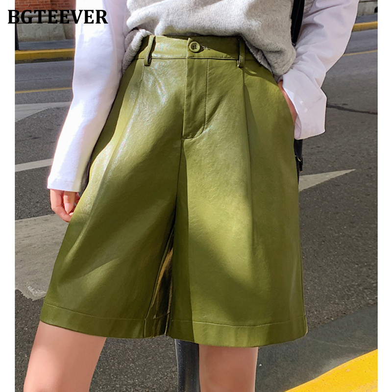 BGTEEVER Fashion High Waist Faux Leather Shorts Women Streetwear Women PU Leather Loose Shorts Pockets 2020 Spring Summer