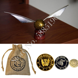 Gold Snitch Catch Ball and Movie Gringott Bank Coins with Bag styles magic trick