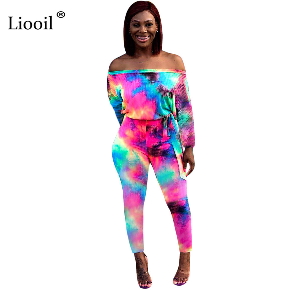 Liooil Off Shoulder Sexy   Jumpsuits   Women 2019 Tie Dye One Piece Outfits Long Sleeve Belt Party Rompers Womens   Jumpsuit   Overalls