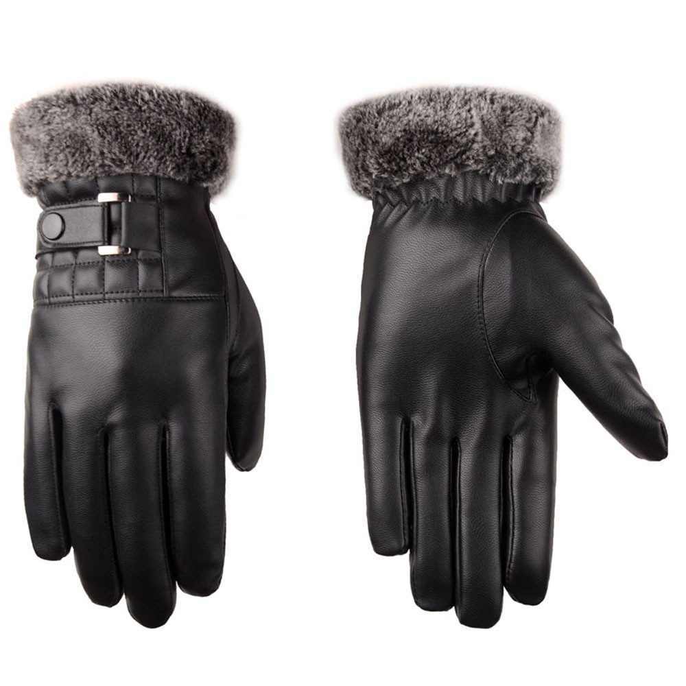 Men Leather Touch Screen Gloves with Good Thermal Performance for Winter to Keep Hands Warm Useful for Touch Screen Device Without Exposing Hands 3