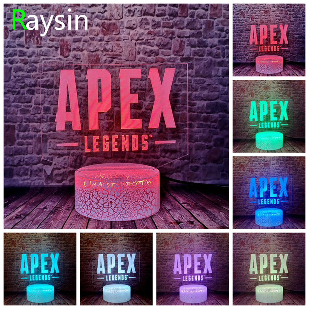 APEX Legends 3D Lamp USB Touch RGB Crack Base Night Light Battle Royale Game Kids Sleeping Lights Table Decor Boys Christmas Gif
