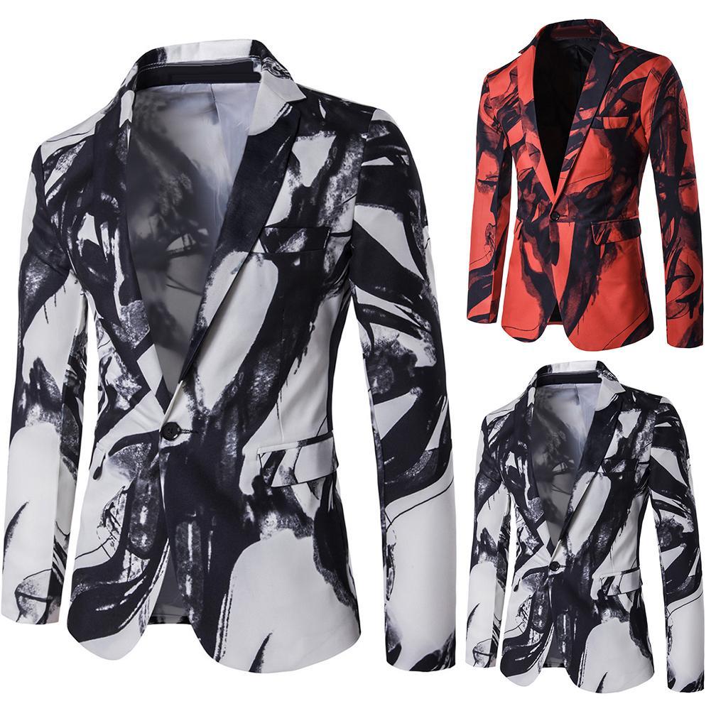 Fashion Men Ink Painting Print Lapel Long Sleeve Pockets Blazer Suit Outwear Coat 2019 Wedding Prom Blazers Single Button