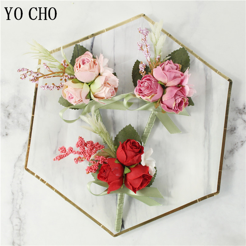 Artificial Flores Bride Corsage Wristband Wedding Party Flower Men Suit Boutonniere Bridesmaid Wrist Flower Wedding Accessories