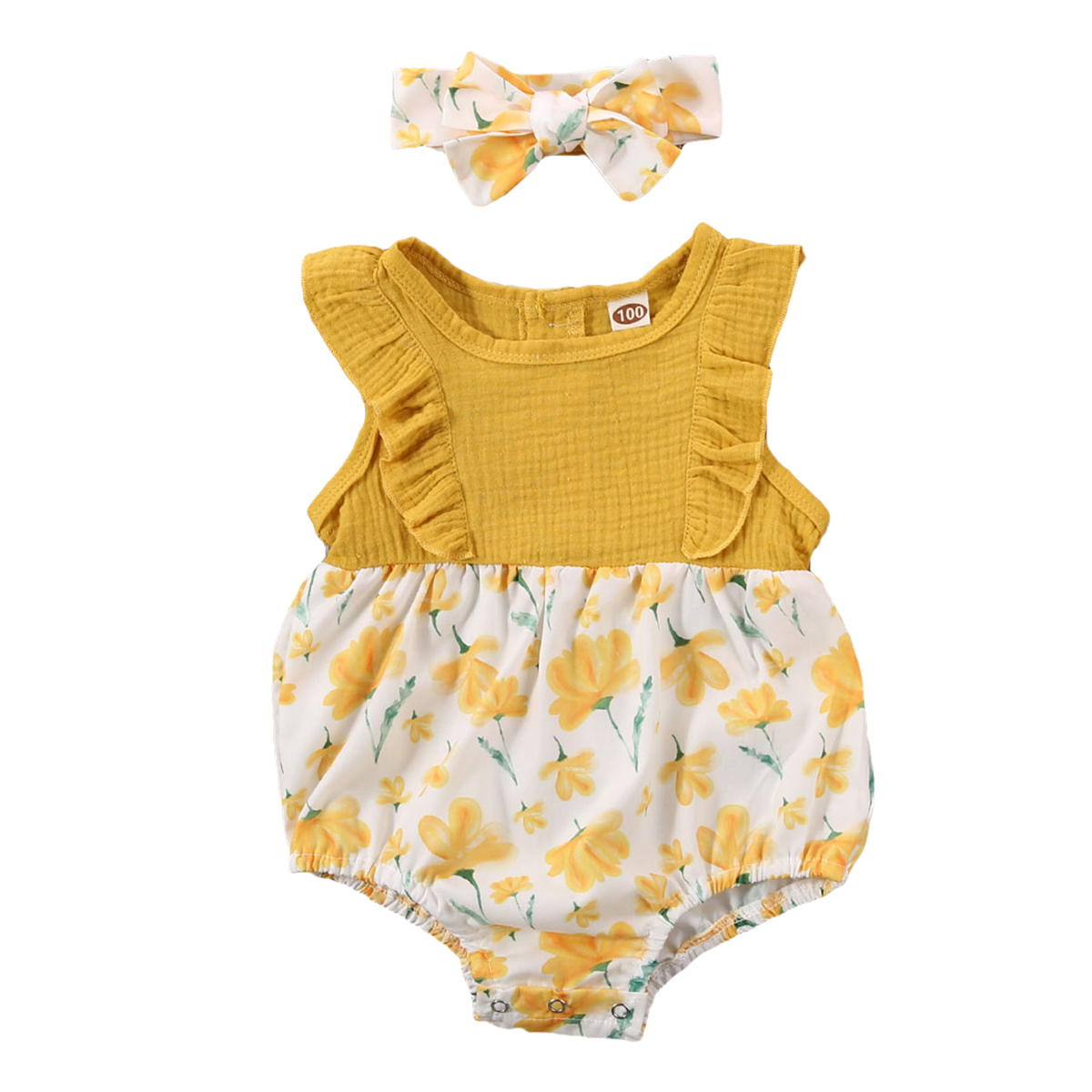 3-24M Newborn Infant Baby Girls Flower Romper Ruffles Jumpsuit Playsuit Summer Baby Girl Clothes Costumes Sunsuit