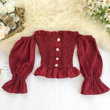 MUMUZI Off shoulder blouse female autumn new sexy