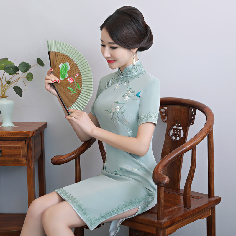2020 Hot Sale New Summer Long Silk In The Double-layer Cheongsam Everyday After Gusang Mother Cheong-sam Woman With Big Yards