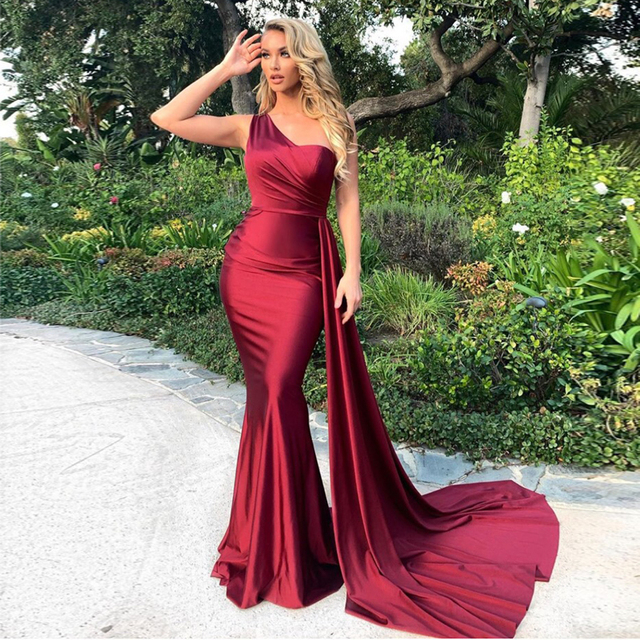 One Shoulder Sexy Brugundy Satin Maxi Dress Draped Long Evening Party Dress Gown 1