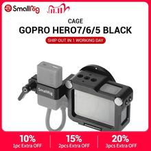 Smallrig câmera de ação vlogging, gaiola para gopro hero 7 / 6/5, preta, para microfone, flash luz, opções diy caixa de alumínio cvg2320