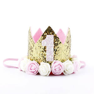 Birthday-Hats Crown Shower-One Baby Princess Kids 2-Year Old-Number First 1st