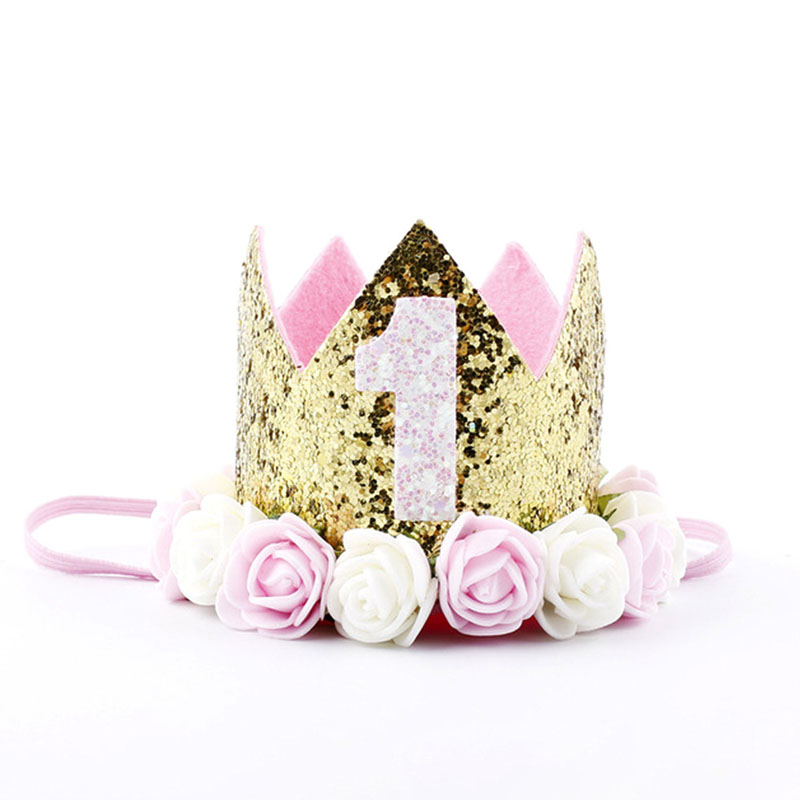 2 Year Birthday Hats Baby Shower One First Birthday Hat Princess Crown 1st 2nd Year Old Number Birthday Party Decorations Kids