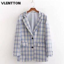 Женский винтажный блейзер в клетку офисный пиджак с карманами
