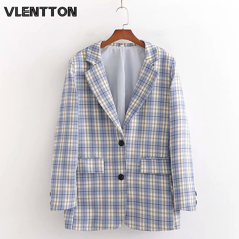 2020 Spring Autumn Vintage Plaid Blazer Women's Chic Pockets Suit Jacket Coat Female Outwear Tops Office Lady Blazers Mujer