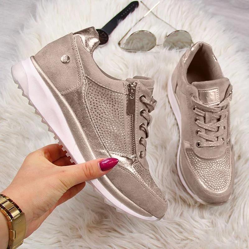 Women Shoes Gold Sneakers Zipper