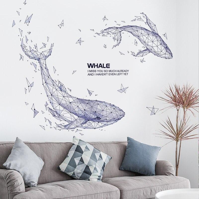Креативный Инс ветер кит наклейка для гостиной фон украшение стены спальня комната стены реконструкция стены стикер Самоклеющиеся