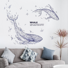 Creative ins wind whale sticker living room background wall decoration bedroom room wall remodeling wall sticker self-adhesive