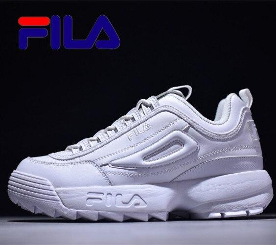 Fila Disruptor II 2 Women Sneaker Running Shoes Light Gray Dark Blue Thick Bottom Increased Man Low Outdoor Sneakers  Size 35-44