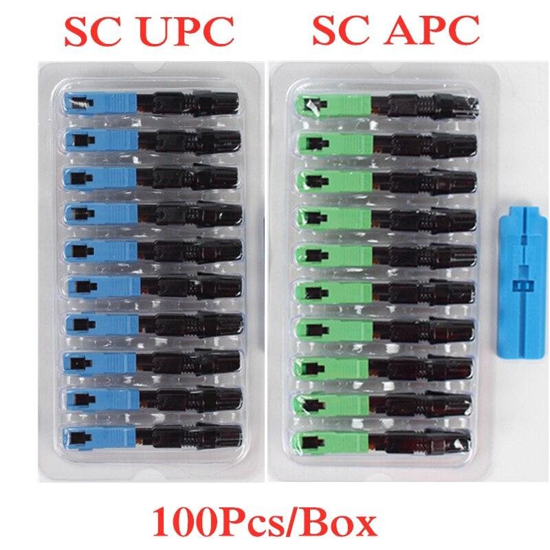 100 шт. SC UPC одномодовый волоконно-оптический Быстрый коннектор SC APC FTTH SC быстрый коннектор SC адаптер в сборе