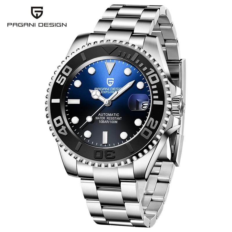 Reloj de diseño PAGANI para hombres reloj mecánico automático de buceo de acero inoxidable resistente al agua 100M de moda de negocios reloj Masculino