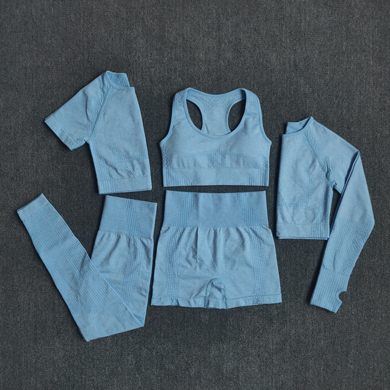 2/3/5PCS Seamless Women Yoga Set Workout Sportswear Gym Clothing 4
