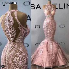 Real Image Mermaid Evening Formal Dresses 2020 Latest Halter Backless Applique Saudi Arabic Lace Celebrity Prom Gown robe de(China)