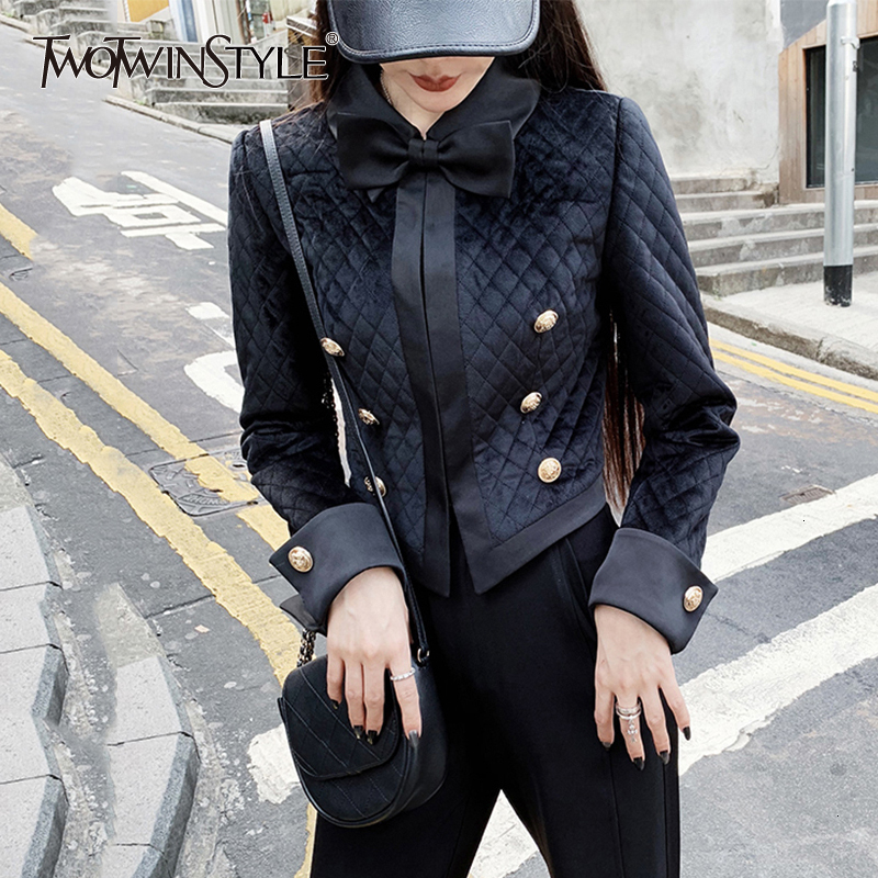 TWOTWINSTYLE Black Elegant Bowknot Women's Blazer Lapel Collar Long Sleeve Female Suit Autumn Large Size Fashion New 2019