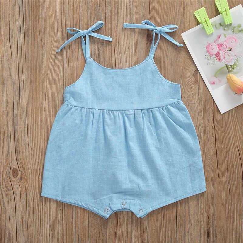 Kleinkind Baby Strampler Sommer Infant Neugeborenen Jungen Mädchen Sling One-stück Spielanzug-overall für Baby Baumwolle Leinen Kleidung Outfits