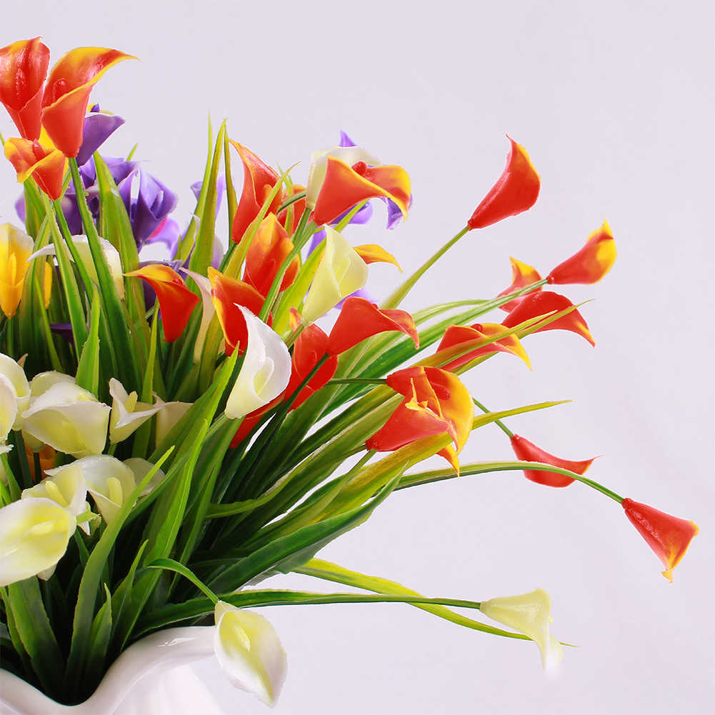 Plastic Outdoor Artificial Flowers Fake False Plants Grass Garden Lily Tulip DY