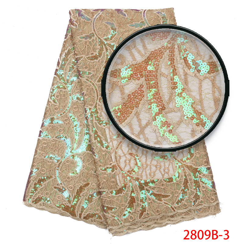 African Lace Fabric 2019, High Quality Organza Laces With Sequins,Nigerian French Mesh Lace Fabrics For Bridal Dresses KS2809B-3