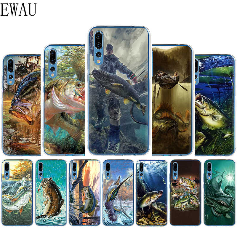 EWAU 釣り 3 ロッド湖魚シリコーンマットル電話ケース Huawei 社の名誉 7C 7X 8C 8 × 8 9 注 10 Lite 表示 20 9X プロ
