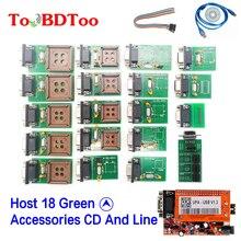 Neue Hohe Qualität UPA V1.3 USB Programmierer Volle Adapter Mit NEC Funktion Mit Host 18 Grün Zubehör CD Und Linie
