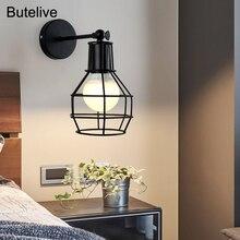 Lámparas de pared industriales Vintage Retro Led luces de pared para el hogar escaleras ajustable dormitorio lámpara de noche Luz de tocador E27 luces Led