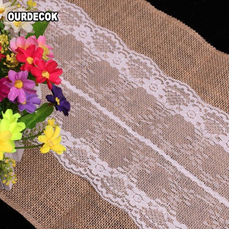 5 ədəd / çox Hessian Jute Krujeva Süfrə Qaçan Təbii Çiçək - Ev tekstil - Fotoqrafiya 6