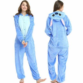 Flannel Kigurumi adult Animal pijama Unicorn pajamas Women Cosplay pyjama Totoro Stitch Onsie Homewear Sleepwear Party Christmas
