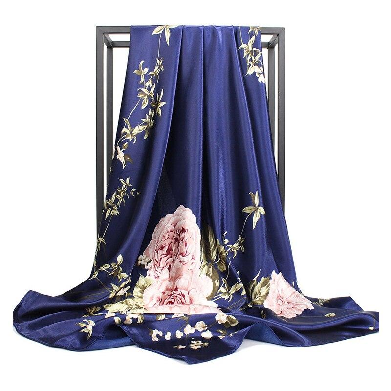 2019 Fashion Shawl Kerchief Silk Satin Hijab Scarf For Women Floral Print Handkerchief Hair Scarfs 90cm Square Shawls And Wraps