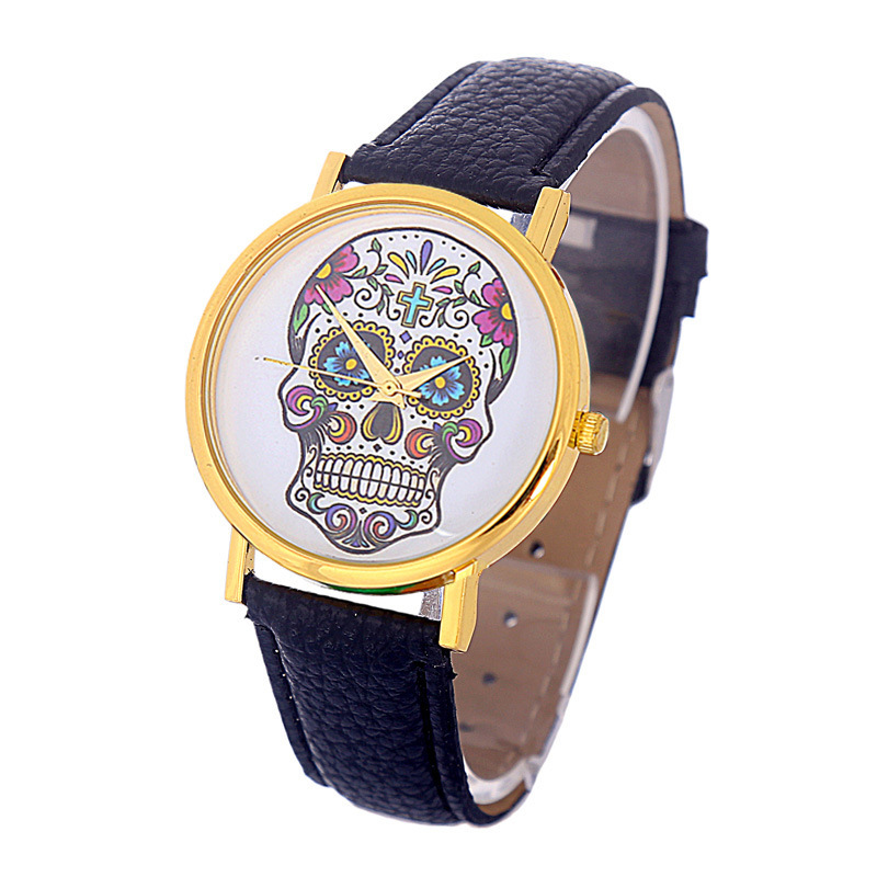 Fashionable Garden Hip Hop Style Skull Pattern Fashion Watch Unisex Belt Watch For Man Women