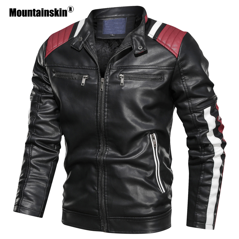 Mountainskin Men's Leather Jacket Winter Autumn Male Stand Collar Motorcycle Coat Mens PU Slim Fits Jacket Brand Clothing SA799