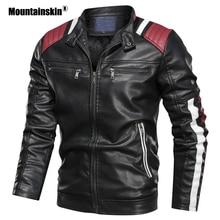 Mountainskin Men's Leather Jacket Winter Autumn Male Stand Collar Motorcycle Coa