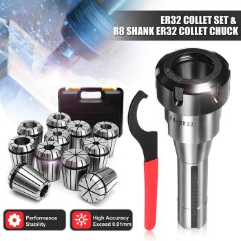 Spring Collet Set Precision Collet Set 3mm-19mm R8-ER32 7/16 Collet Chuck Holder Wrench
