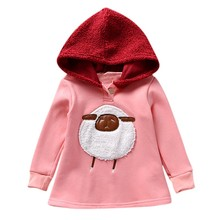 2019 Baby Girls Dress Autumn Spring Long-Sleeve Sweater With Hoodies Casual Dress Cartoon Print Baby Dress Girl Children Clothes 2017 autumn spring girls knitted dress children sweater dress with hat kids clothes red white clearence sale