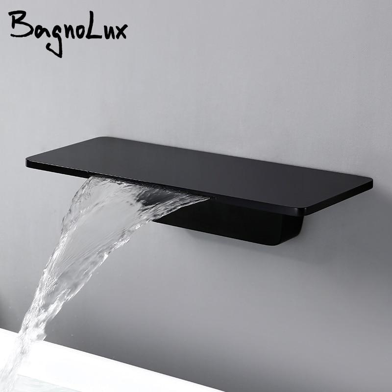 Waterfall Sink Faucet Shelf Basin Water Mixer Tap Quality Black Wall Mounted Brass Elegant Life Decoration Bathroom Hotel