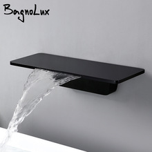 Waterfall Sink Faucet Shelf Basin Water Mixer Tap Quality Black Wall Mounted Brass Elegant Life Decoration Bathroom Hotel