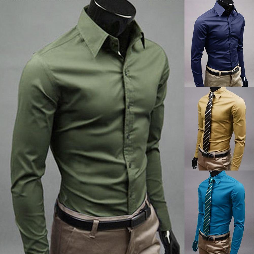 Men Dress Shirt 2020 Winter New Fashion Men Solid Color Business Long Sleeve Men Button Turn Down Collar Shirt Top Polyester