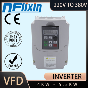 4KW 220V Single Phase Input to 380V 3 Phase Output PWM Frequency Converter Drive Inverter 5HP VFD VSD image