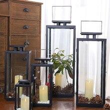 Candelero de hierro negro Vintage Retro alto Metal jardín candelabro centros de mesa de boda candelabro de cristal al aire libre linterna caliente