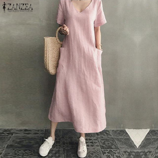 ZANZEA 2021 Women Long Maxi Summer Dress Casual Cotton Linen  Ladies Big Pockets Beach Party Robe Femme Vestidos Plus Size 5XL 4